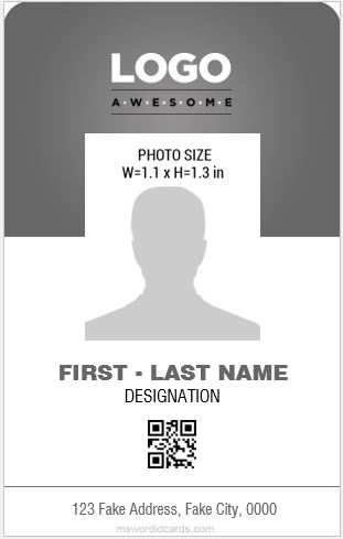 professional design vertical id card design template ms word - Id In Design