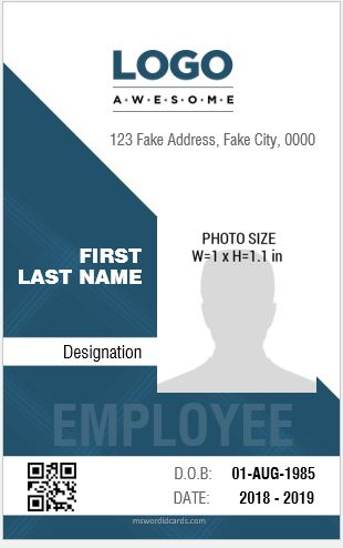 employee id card template vertical design ms word - Id In Design