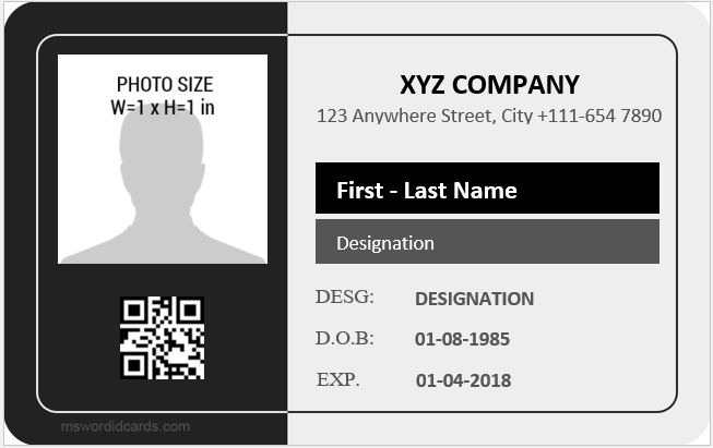 Employee Id Card Template Free Download from mswordidcards.com