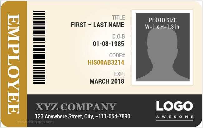 Employee ID Card Template MS Word