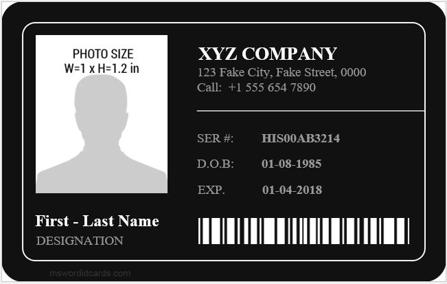 Employee id card sample template