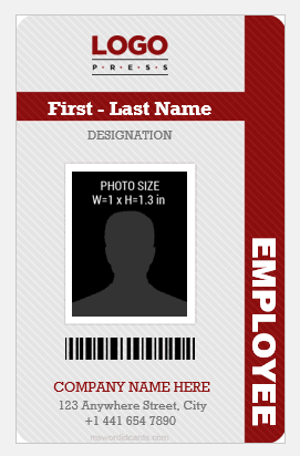 Vertical Design Employee id Card Template MS Word
