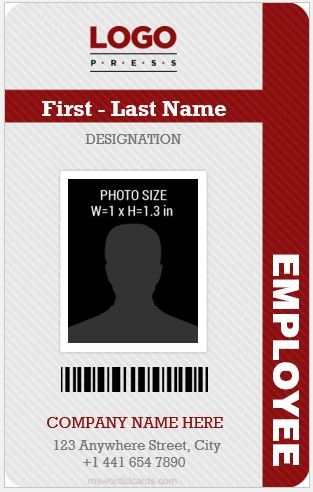 vertical design employee id card template ms word - Id In Design