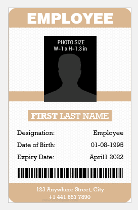 Vertical Design Employee id Card Template
