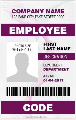 5 Best Vertical Design Employee ID Cards | Microsoft Word ID Card ...