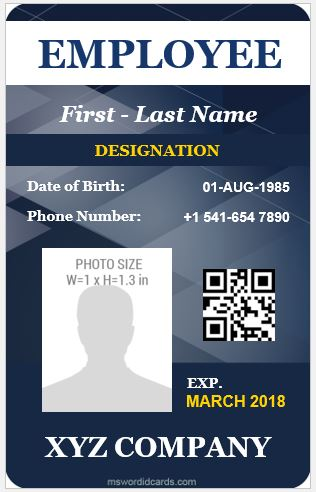 5 best vertical design employee id cards microsoft word for Staff id badge template