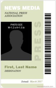 Press Reporter id Card Template Vertical Design