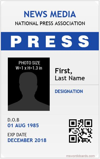 Press Reporter id Card Template
