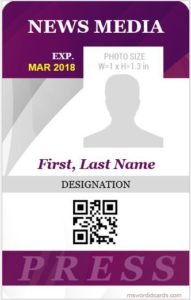 Press Reporter ID Badge Template Vertical Design