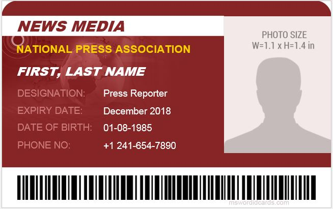 Press Reporter ID Badge Template