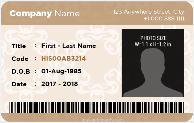 Office ID Card Sample