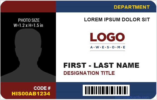 8 best company id card templates ms word microsoft word for Staff id badge template