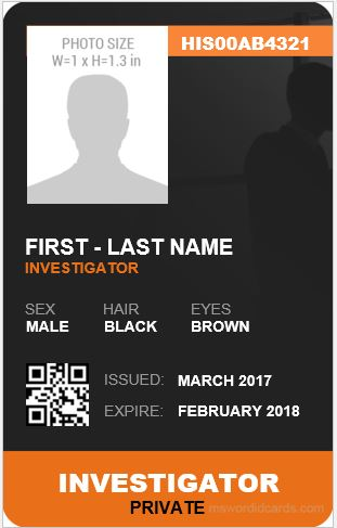 Investigator ID Card Template Vertical Design
