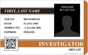 Investigator ID Card Template MS Word