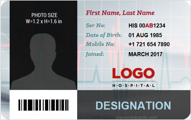 Hospital staff id card