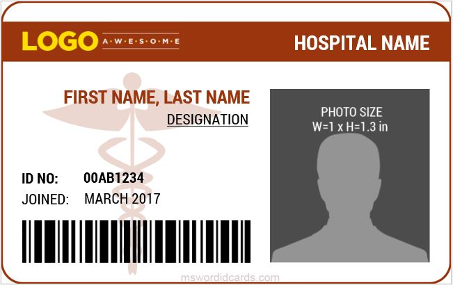 6 best medical staff id card templates ms word microsoft for Hospital id badge template