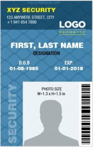 Security Guard ID Card Template Vertical Design