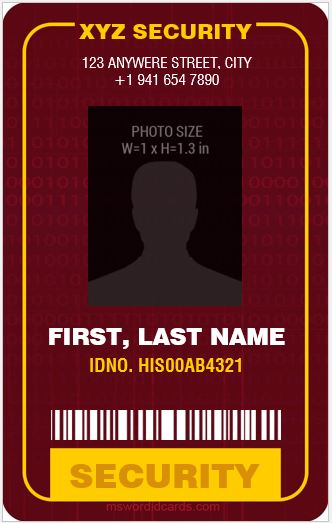 Security Guard ID Card Template MS Word Vertical Design