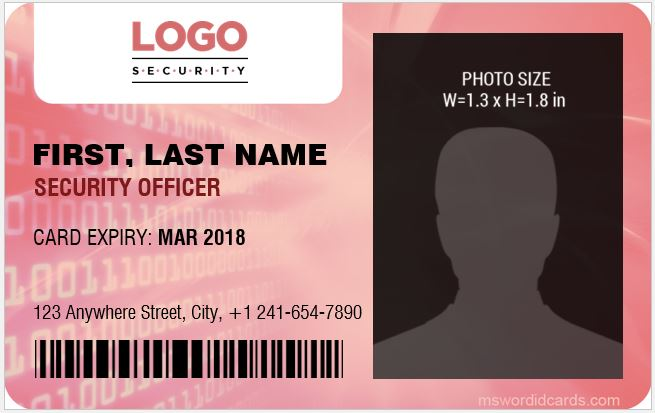 Security Guard ID Card Template MS Word