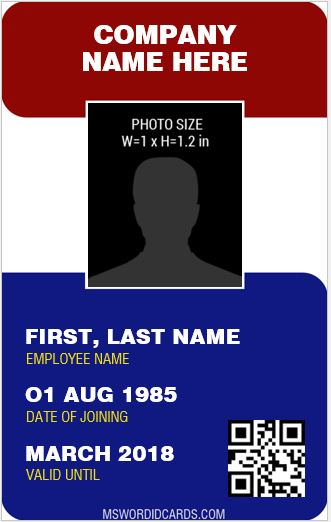 Staff ID Card Template MS Word