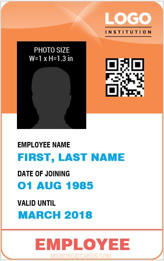 Staff ID Card Sample Word