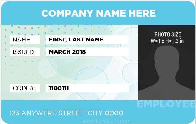 10 best staff id card templates ms word microsoft word id card templates. Black Bedroom Furniture Sets. Home Design Ideas