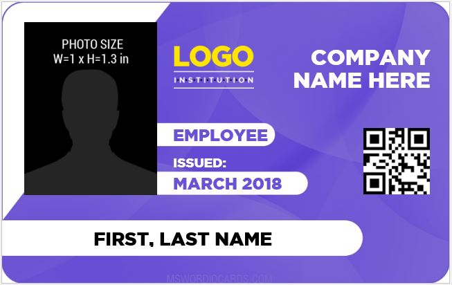 identity card template word