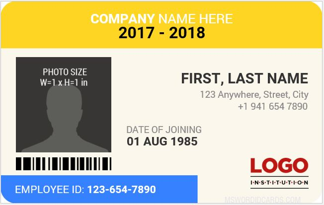 Staff photo id card template
