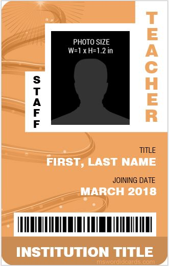 Teacher ID Card Template Vertical Design