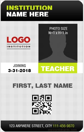 Teacher ID Card Sample Template