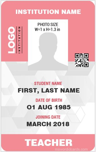 Teacher ID Card Sample