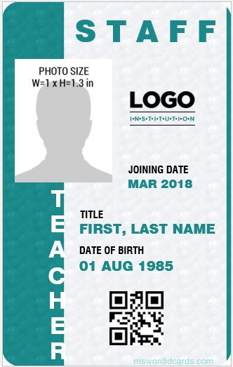 Teacher ID Card Template