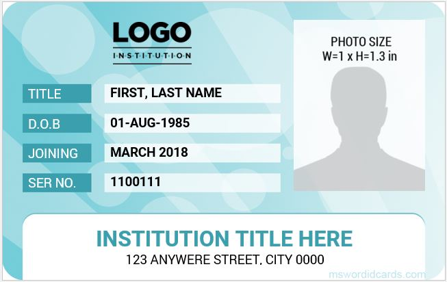 School College And University Id Card Templates