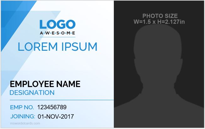 Microsoft Word ID Card Template