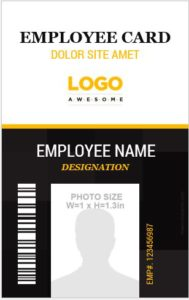 Vertical ID Size Template