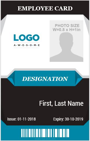 10 amazing employee vertical size id cards for free microsoft word id card templates. Black Bedroom Furniture Sets. Home Design Ideas
