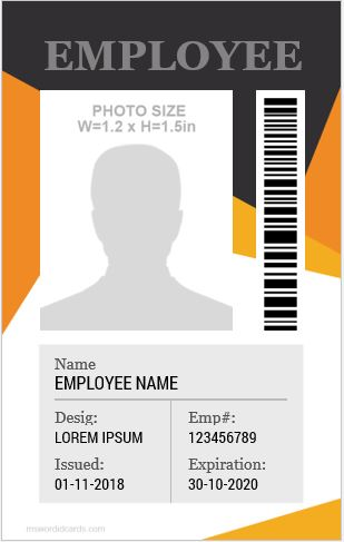 10 Amazing Employee Vertical Size Id Cards For Free