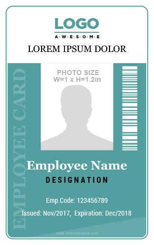 Employee Vertical Size ID Card