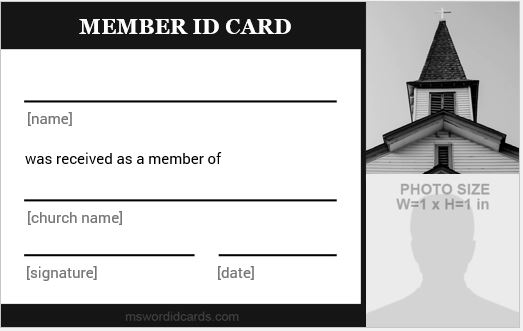 Church ID Card Black and White