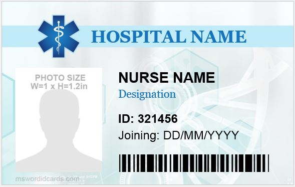 5 professional nursing id cards for ms word