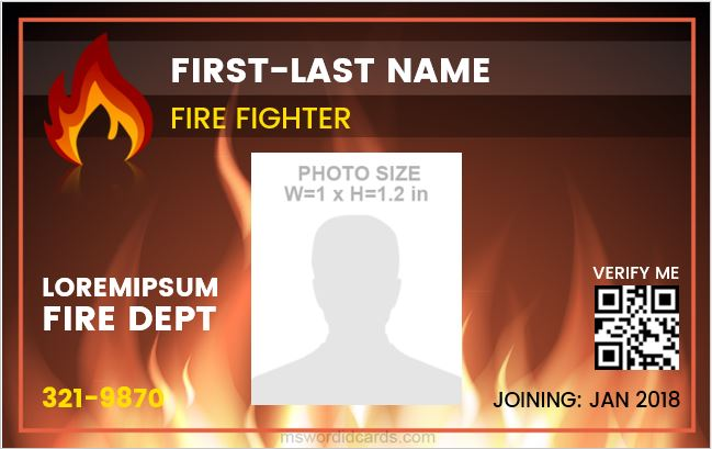 Fire Department Employee ID Badge