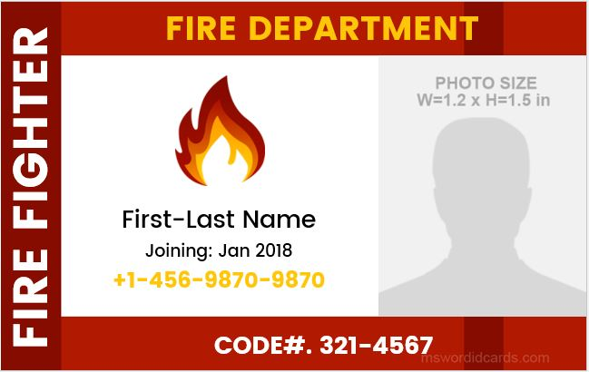 Firefighter id badge sample