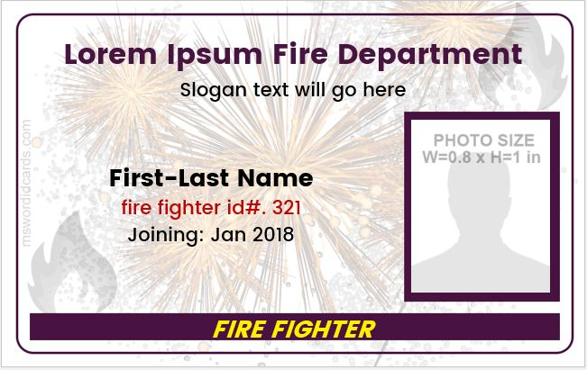 Firefighter id card sample