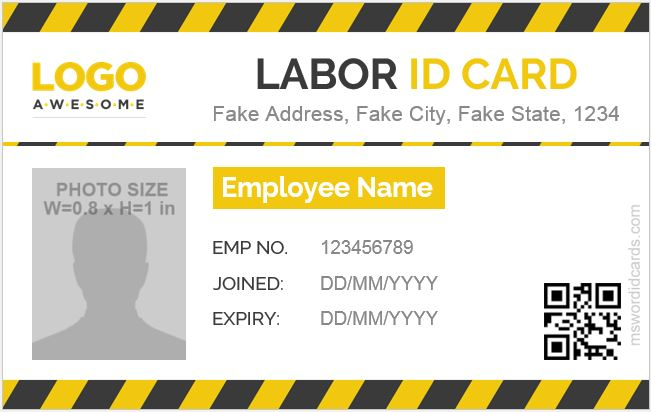 Labor ID Card Template