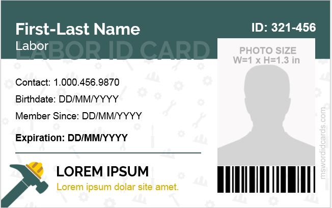 Labor ID Card for MS Word