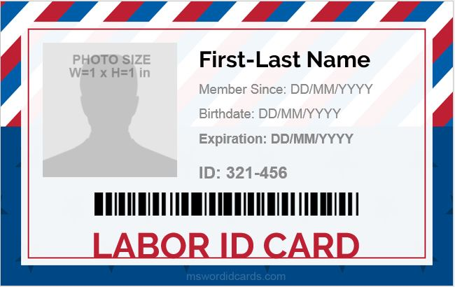 MS Word Labor ID Card