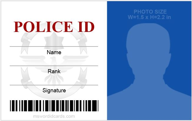 MS Word Police ID Card
