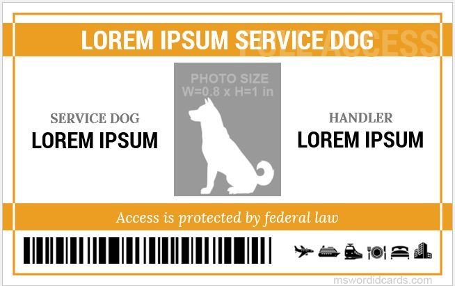 picture regarding Free Printable Service Dog Id Card Template named Assistance Doggy Identity Card Templates Microsoft Phrase Identification Card Templates