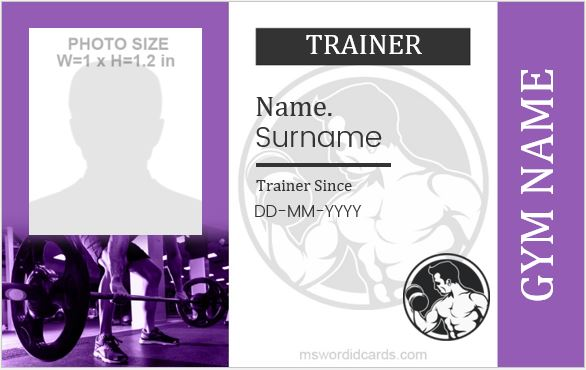 Gym id card template