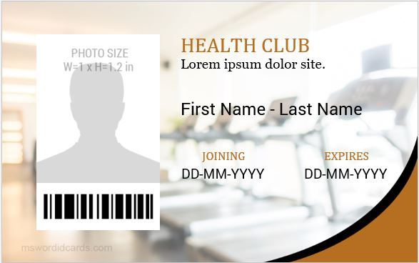 Health club id card template